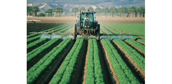 Tractor spraying pesticides on a field of crops