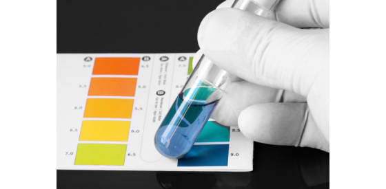 Laboratory scientist doing a pH test with color strip