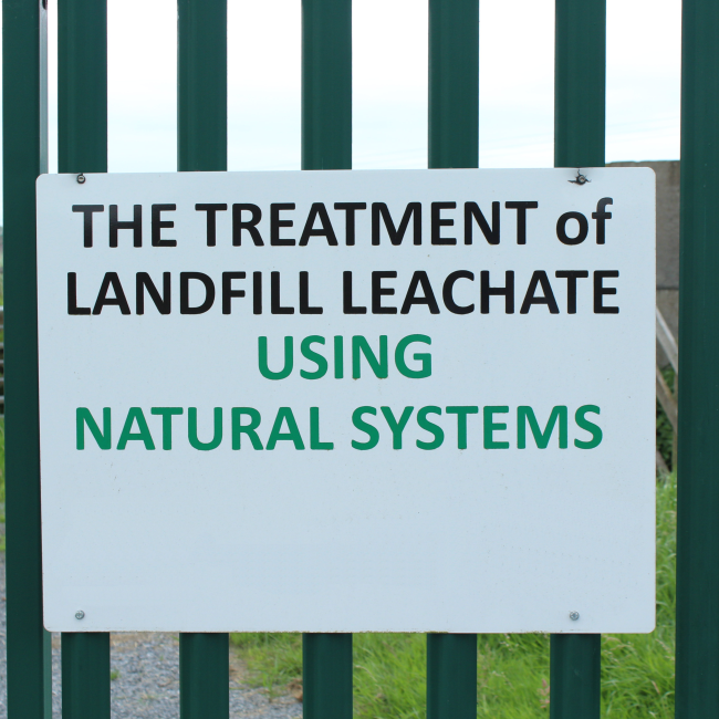 Landfill Leachate Treatment in natural ponds sign
