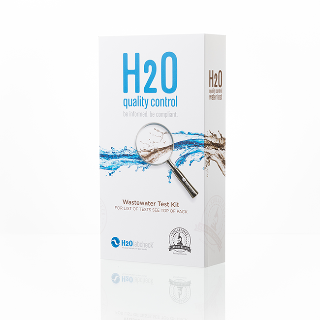 Leachate Water Testing Kit (closed) : white box, h2olabcheck logo, test name