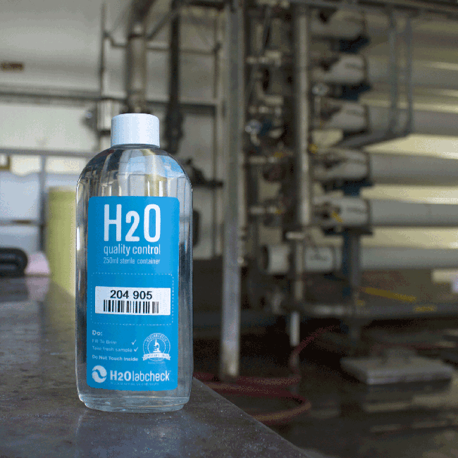 H2O sampling bottle, reverse osmosis station in the background