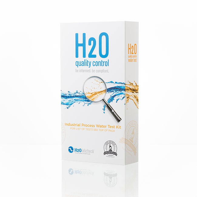 Reverse osmosis water test pack closed: white box, h2olabcheck logo, test name on it