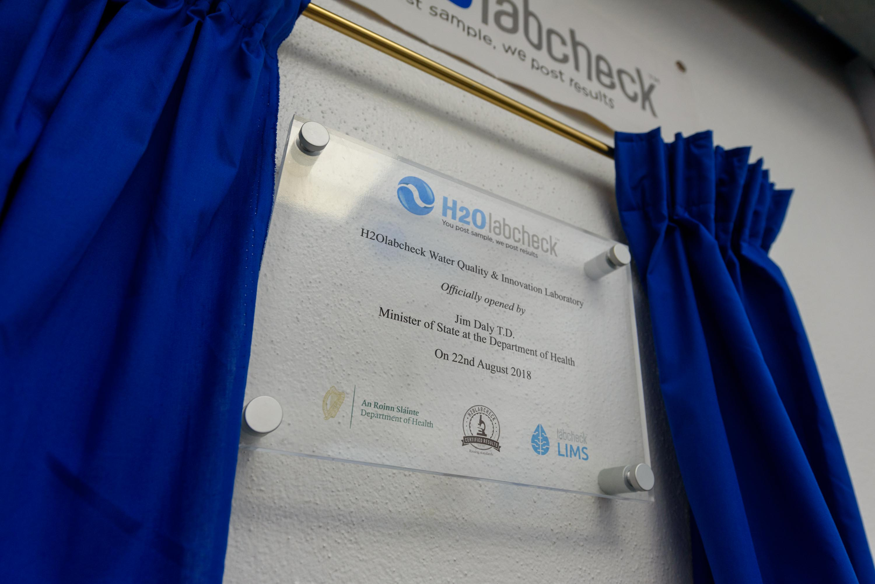 H2Olabcheck Laboratory Opening Plaque